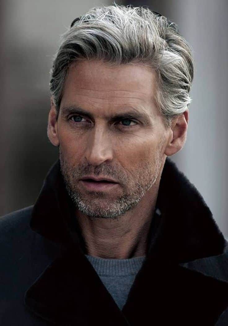 Swept Gray hair for older men