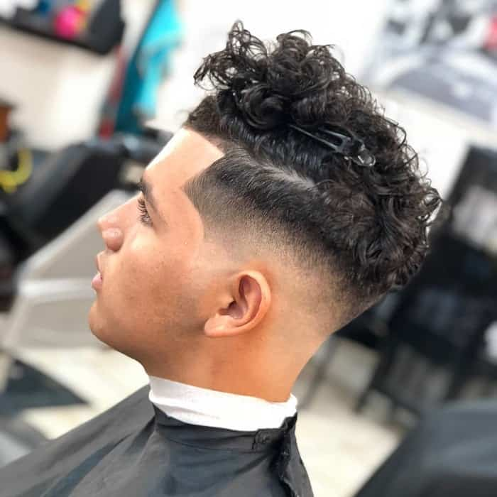 High Taper Faded Curly Hair