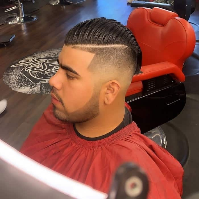 Mid Skin Fade on Comb Over