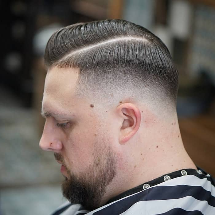Mid Taper Faded Comb Over