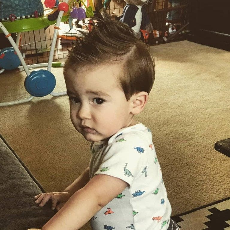 1 year old boy with spiky hairstyle