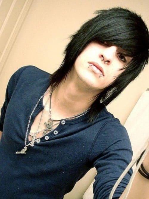 Mullet hairstyle foe emo boy