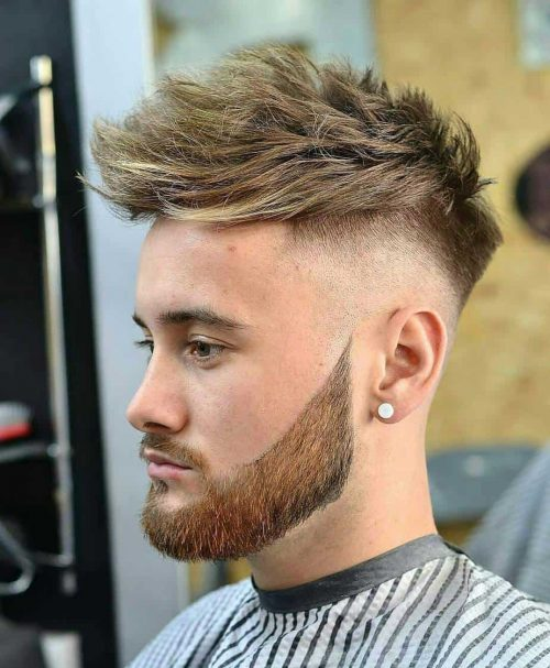 Low Bald Fade with Ruffled Hair on Top