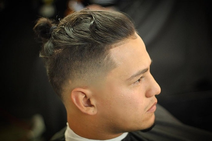 Drop Fade with Man Bun on Top