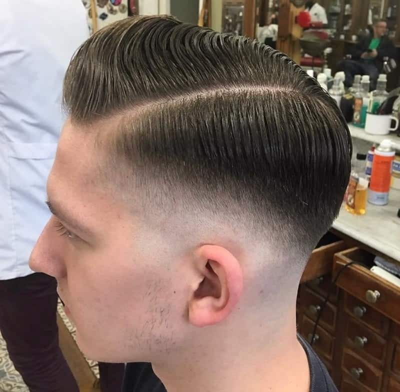 pompadour with low skin fade