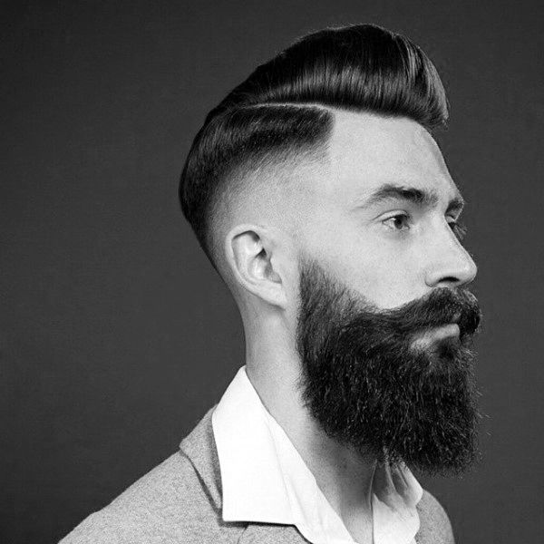 Fade and pompadour with part