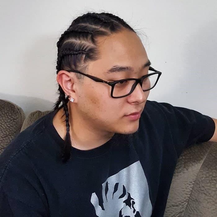 Asian Cornrow on Long Hair for Men