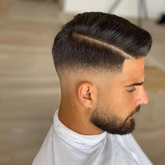 Medium Fade with Side Part