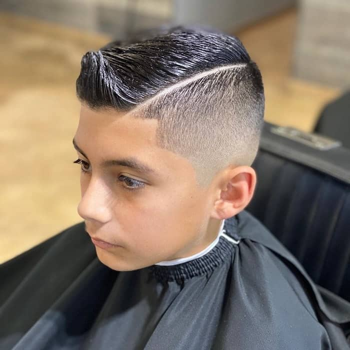 Boys hard part haircut