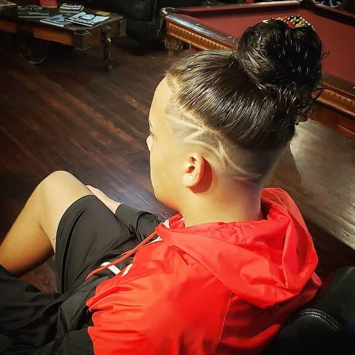 Man Bun Fade with Design