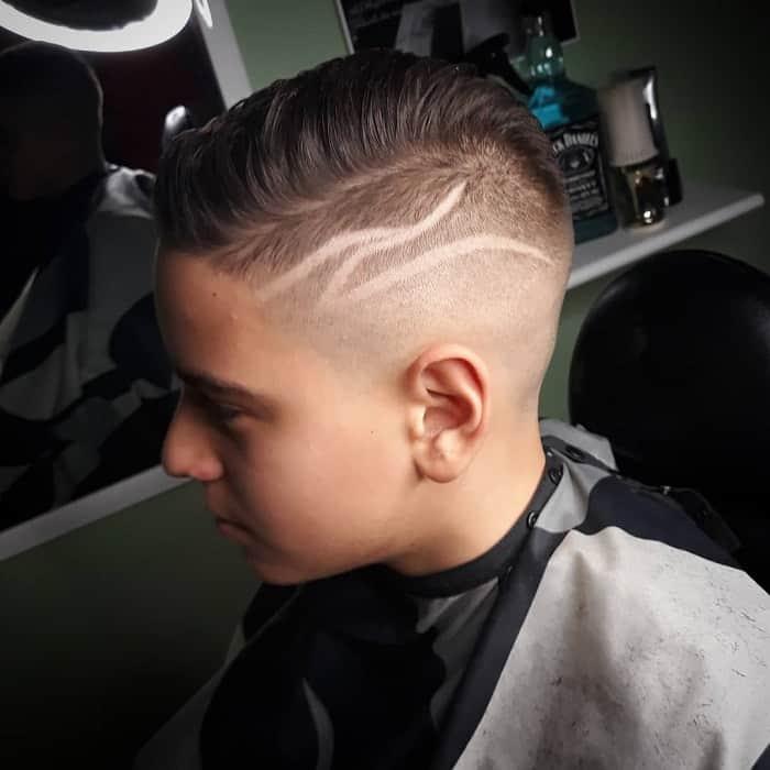 Boys Fade Haircut with Design