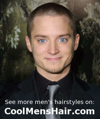 Photo of Elijah Wood round face hairstyle.