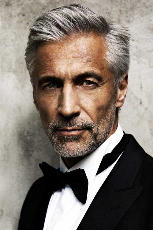 pompadour gray hairstyle for older men