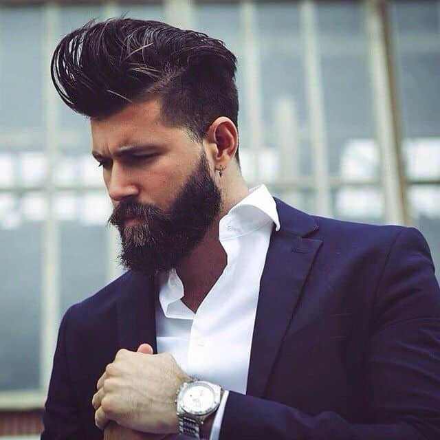 Pompadour hairstyle for Round Face Shape men