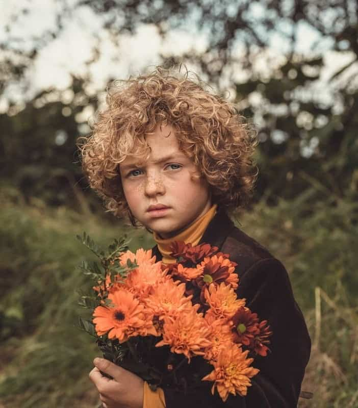 Boy with Blonde Curly Hair
