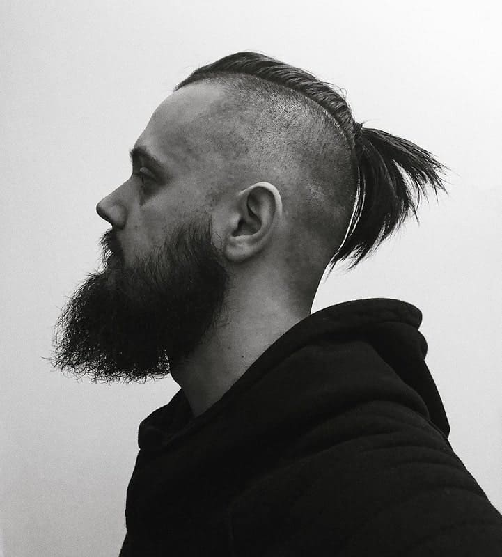 Man Ponytail with Shaved Sides