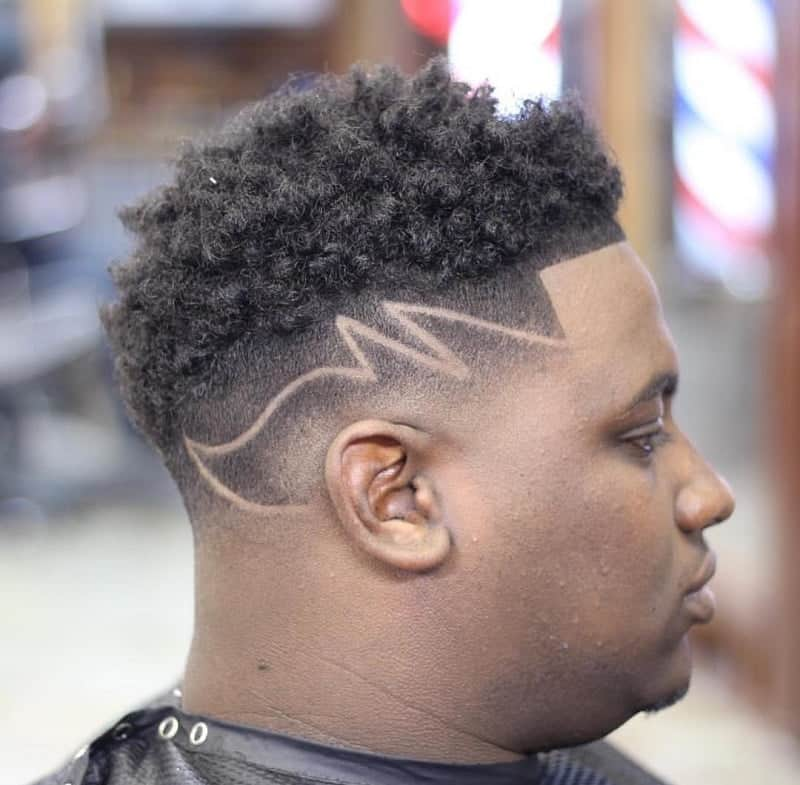 Taper Fade with Design for Black Males