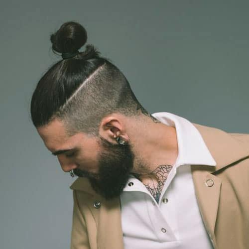 cool men samurai hairstyle with top knot