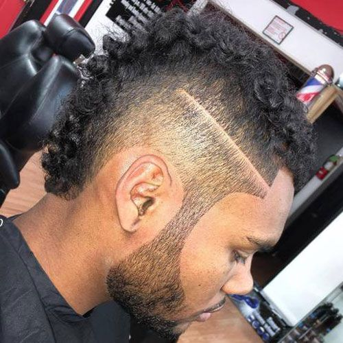 Curly Fohawk black hairstyle for men