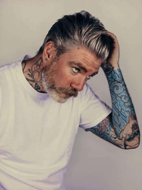 Pompadour gray hair for men