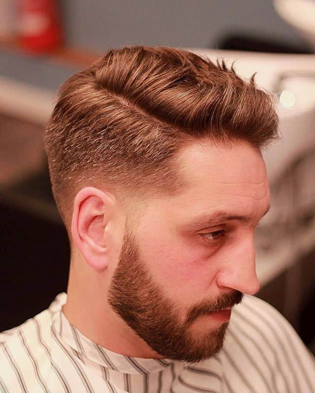 Men Snazzy Side-Part hairstyle with Round Face Shape
