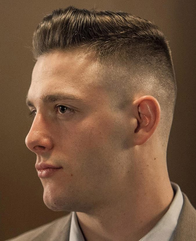 handsome military haircut for men