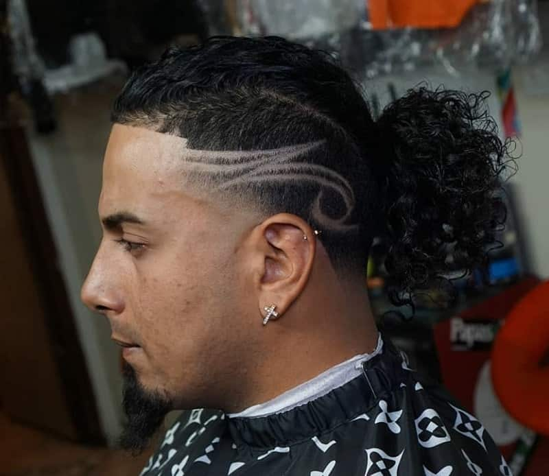 Long Curly Hair with Taper Fade