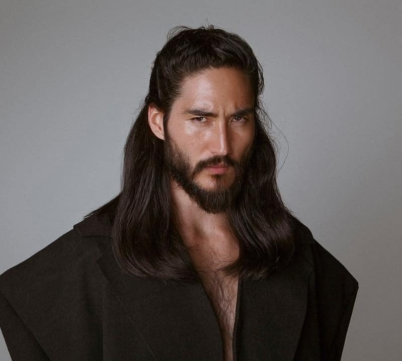 Long and Thick Straight Hair for Men