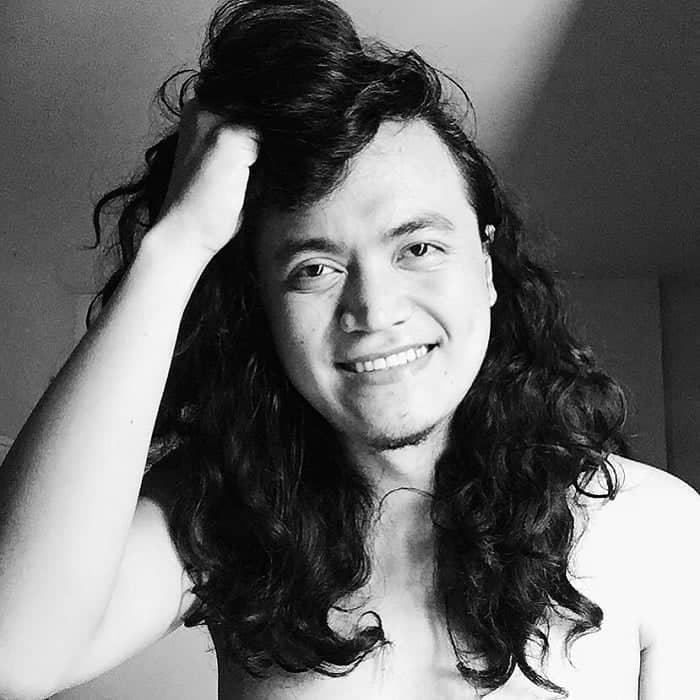 Long Curly Hair for Asian Men