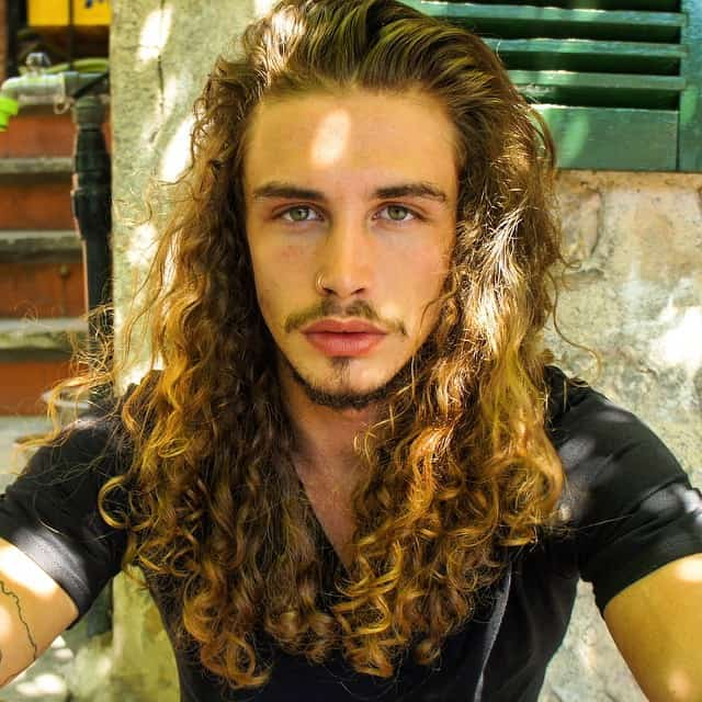 Brown long curly 80s hairstyle