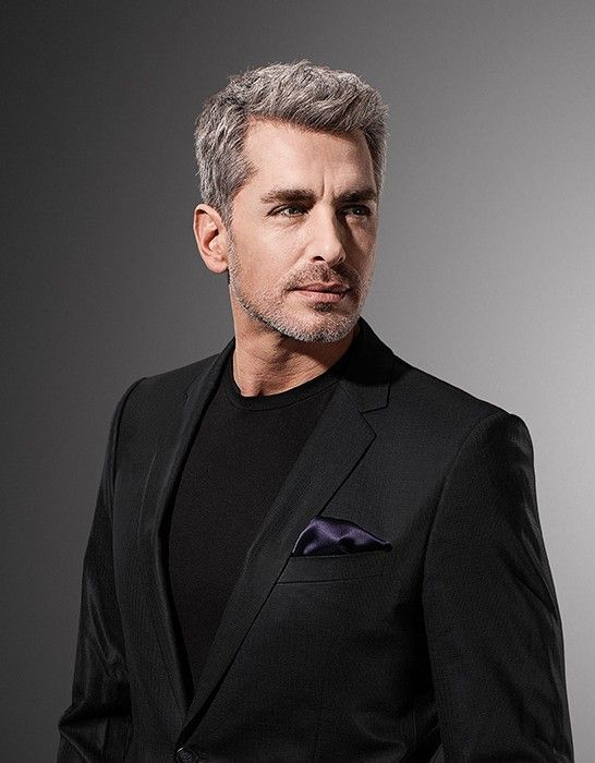 simple medium-length gray hairstyle for old men