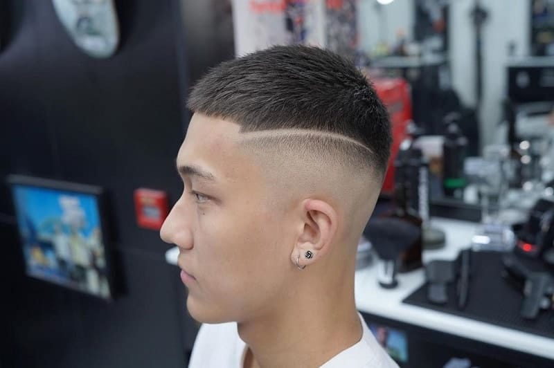 Mid Skin Fade on Asian Hair