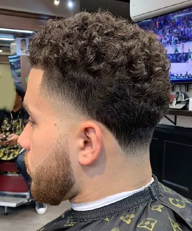 Short Curly Taper Fade
