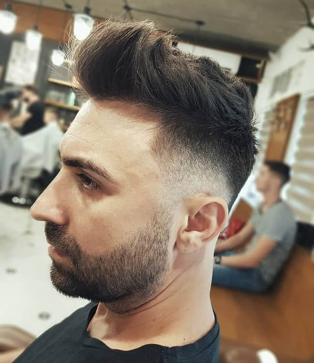 Textured Quiff Hair with Taper Fade