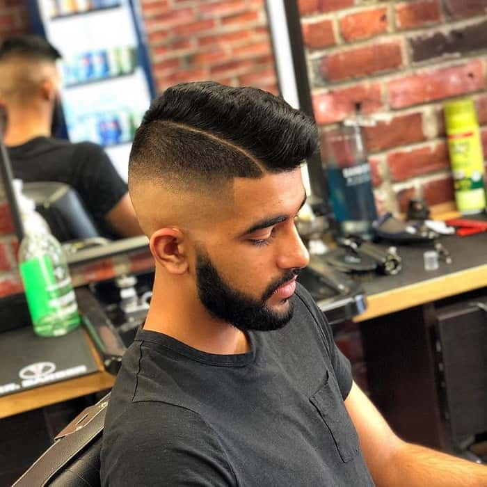 Medium Skin Fade Haircut with Hard Part