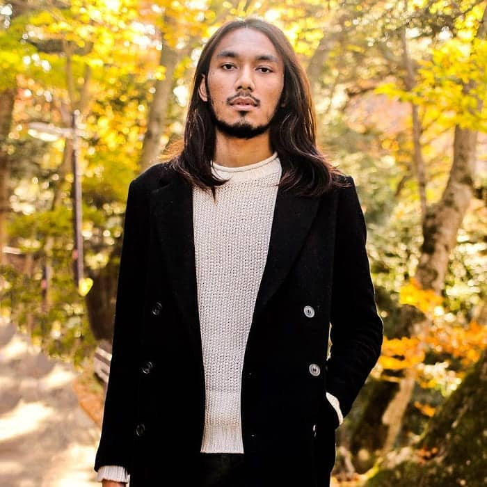 Asian Guy with Long Straight Hair