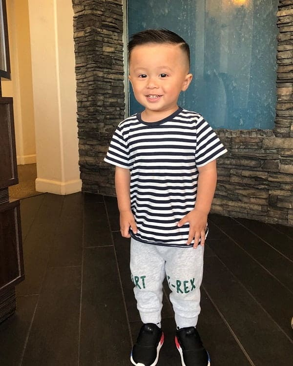 Kids Short Tapered Hair with Hard Part