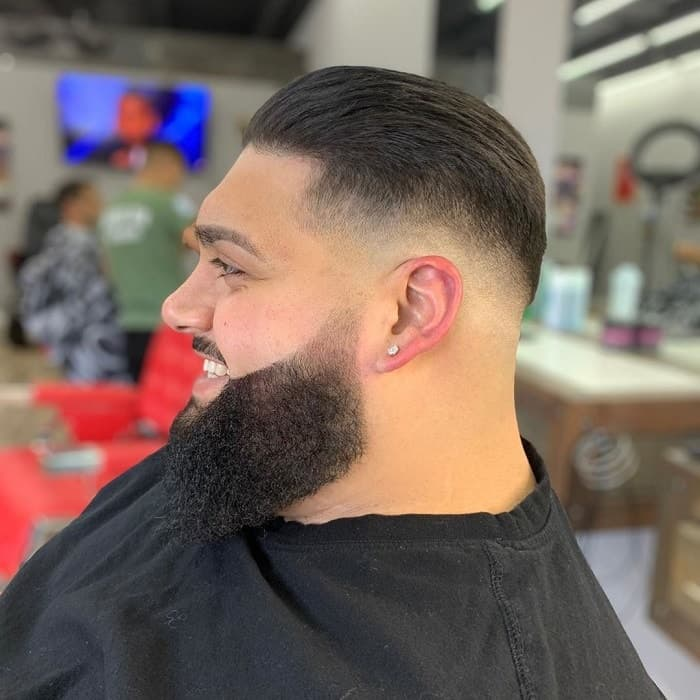 Slick Back Hair with Low Skin Fade