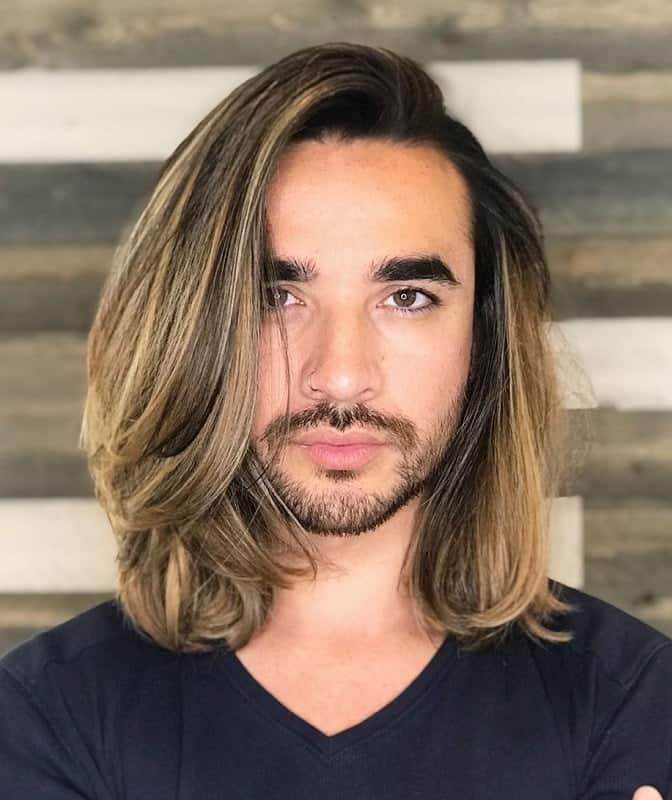 Long Hair Blonde Highlights for Men