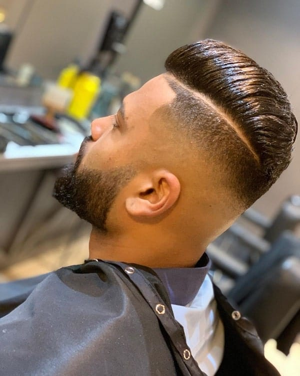 Comb Over Fade with Parting