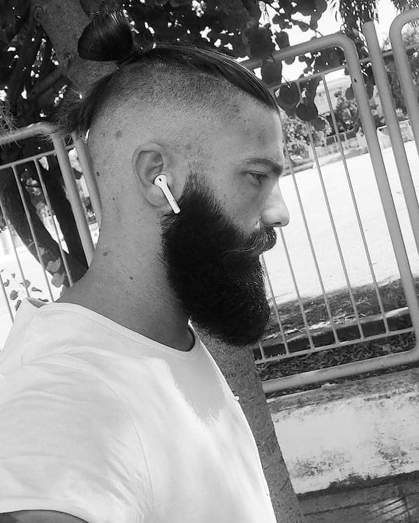 Faded Man Bun with Beard
