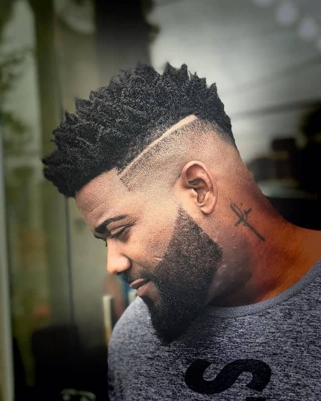 Curly Fade with Part
