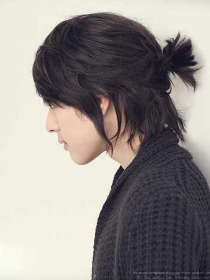 Man Mullet Hair with Ponytail