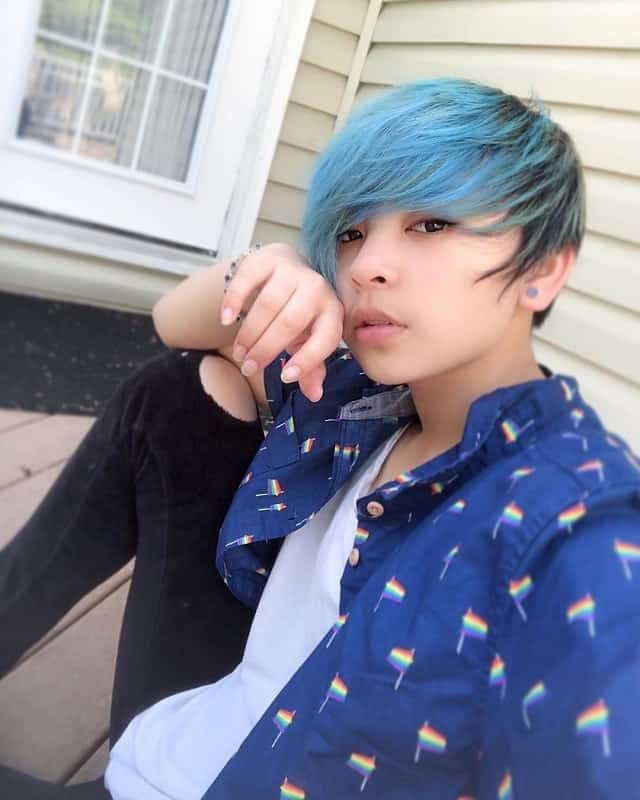 Short Blue Emo Hairstyle