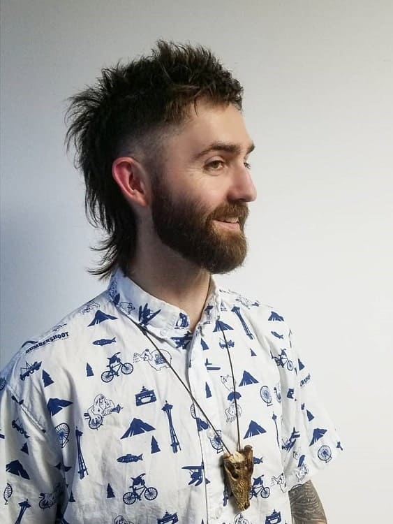 Short Hair Mullet with Beard