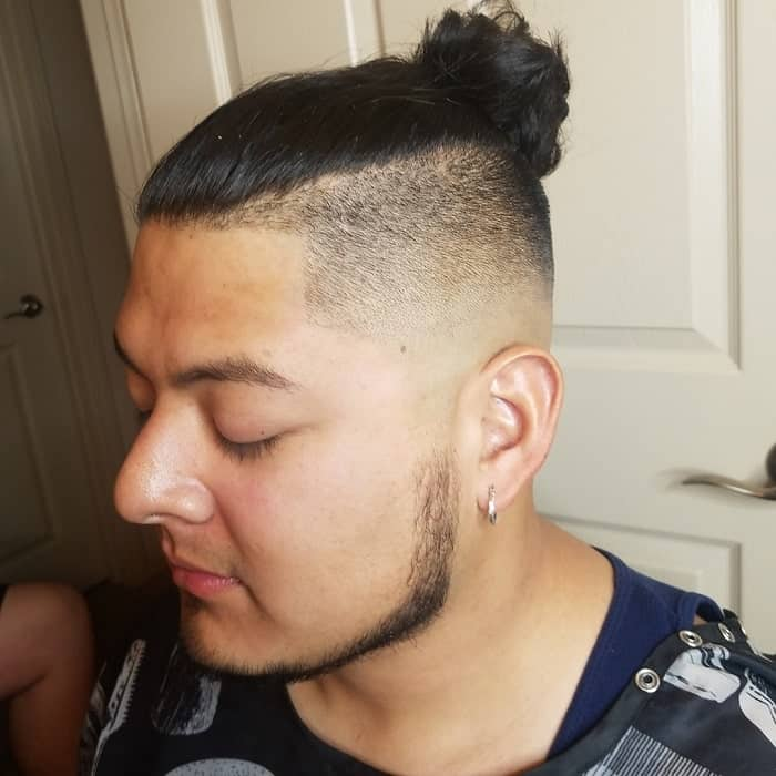 Bald Faded Man Bun