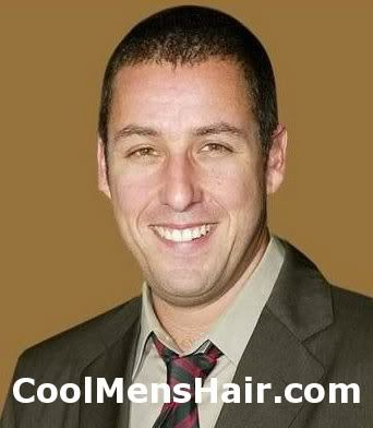 Photo of Adam Sandler short hairstyle for guys.