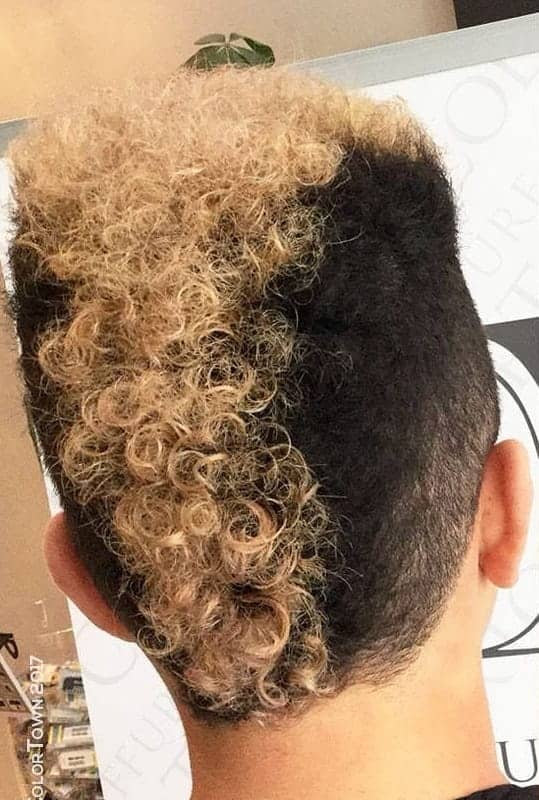 Afro mohawk with blonde ends