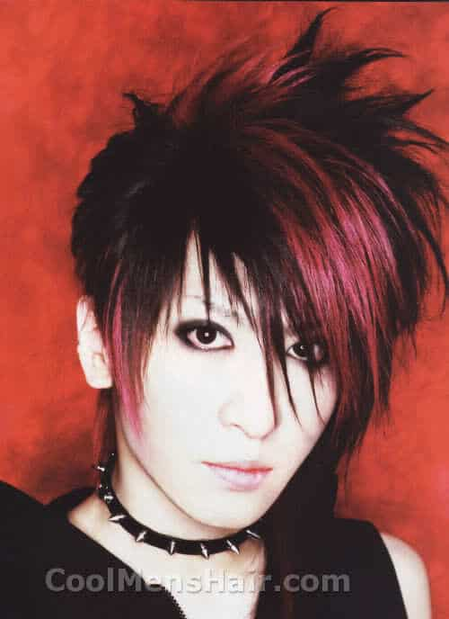 Picture of Aiji with red streak hairstyle.