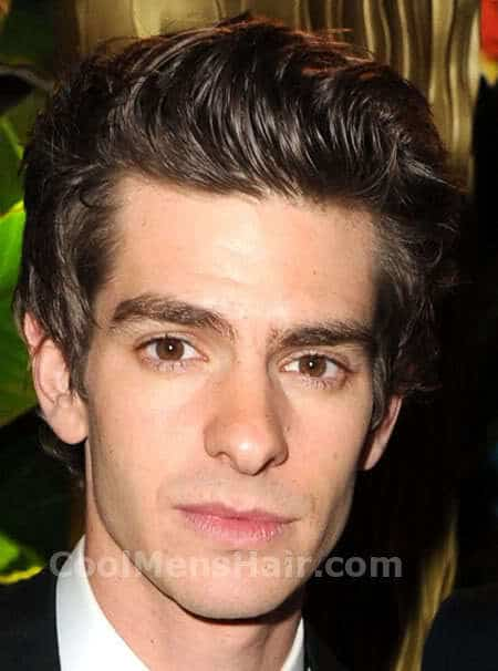Andrew Garfield mussed up hair style image.